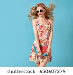 fashion beauty woman in summer... | Shutterstock . vector #650607379