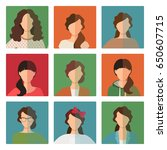 vector female avatar icons set... | Shutterstock .eps vector #650607715