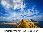 solar cell panels in offshore... | Shutterstock . vector #650608459