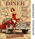diner vintage poster. | Shutterstock . vector #650616004