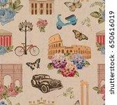 seamless rome travel wallpaper... | Shutterstock . vector #650616019