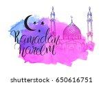 mosque at night. ramadan kareem.... | Shutterstock .eps vector #650616751