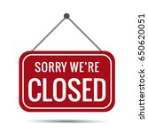 sign sorry we're closed vector ... | Shutterstock .eps vector #650620051