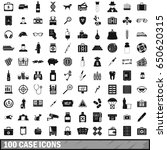 100 case icons set in simple... | Shutterstock .eps vector #650620315