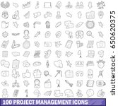 100 project management icons... | Shutterstock .eps vector #650620375