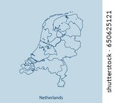 map of netherlands | Shutterstock .eps vector #650625121