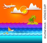 paper art carving with sea ... | Shutterstock .eps vector #650631169