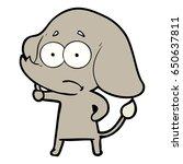 cartoon unsure elephant   Shutterstock .eps vector #650637811