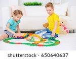 happy joyful children playing... | Shutterstock . vector #650640637