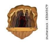 Cave Interior Scene In Deep...