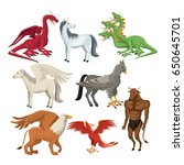 colorful set animal greek...   Shutterstock .eps vector #650645701