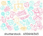 newborn infant themed cute... | Shutterstock .eps vector #650646565