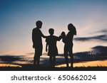 silhouette family and boy... | Shutterstock . vector #650662024