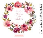 floral wedding wreath. wreath... | Shutterstock .eps vector #650670169