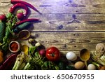 vegetarian table | Shutterstock . vector #650670955