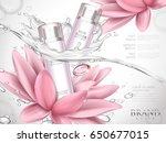 Stock vector lotus skin toner ad contained in bottles with extremely clean water and lotus flower elements 650677015