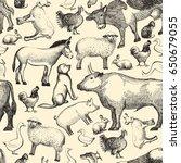 farm animals doodle seamless... | Shutterstock . vector #650679055