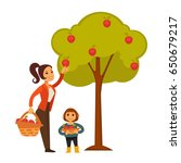 mother and daughter picking... | Shutterstock .eps vector #650679217