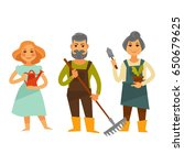 three people with tools for... | Shutterstock .eps vector #650679625
