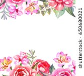 flowers frame with watercolor... | Shutterstock . vector #650680021