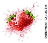 realistic strawberries with... | Shutterstock .eps vector #650682145