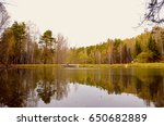 a sad lake in the park. autumn. ... | Shutterstock . vector #650682889