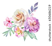 rose and peonies.watercolor | Shutterstock . vector #650686219