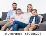 happy family with two children... | Shutterstock . vector #650686279