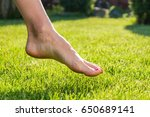 woman walking barefoot on the... | Shutterstock . vector #650689141