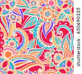 floral seamless pattern. doodle ... | Shutterstock .eps vector #650690335