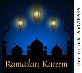 mosque and lanterns on blue... | Shutterstock . vector #650700949