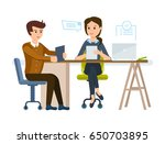 businesswoman hr gets... | Shutterstock .eps vector #650703895