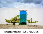 Blue Door And Cactus On White...