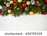 christmas decoration on fir... | Shutterstock . vector #650709109