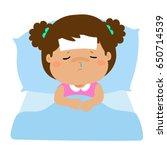 little sick girl sleep in bed...   Shutterstock .eps vector #650714539