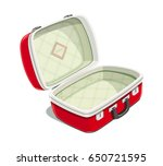 red open suitcase for travel.... | Shutterstock .eps vector #650721595