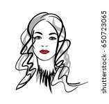 girl with red lips  sketch... | Shutterstock .eps vector #650723065