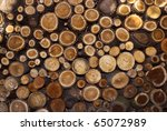a pile of cut wood stump log... | Shutterstock . vector #65072989