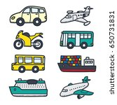 various vehicle doodle... | Shutterstock .eps vector #650731831