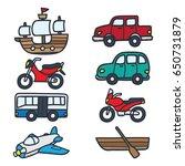 various vehicle doodle... | Shutterstock .eps vector #650731879