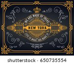 old logo with baroque elements   Shutterstock .eps vector #650735554