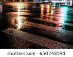 rainy night in the big city ... | Shutterstock . vector #650743591