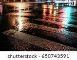 rainy night in the big city ... | Shutterstock . vector #650743591