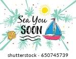 summer hand drawn illustrations ... | Shutterstock .eps vector #650745739