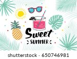 summer hand drawn illustrations ... | Shutterstock .eps vector #650746981