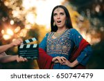surprised bollywood actress... | Shutterstock . vector #650747479