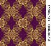 orient textile print for bed... | Shutterstock . vector #650758321