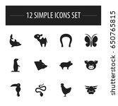 set of 12 editable animal icons....