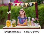young girl standing at her... | Shutterstock . vector #650791999