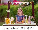 young girl standing at her... | Shutterstock . vector #650792317